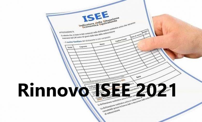 Rinnovo ISEE 2021 documenti per isee 2021
